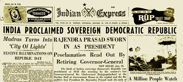 When India became a republic: Front page of The Indian Express (January 28, 1950)